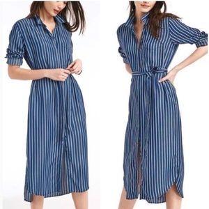 Gap | Striped Belted Midi Shirtdress Size Large